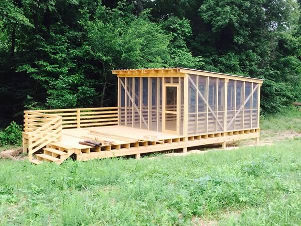 screened in camping platforms for paddlers in nc